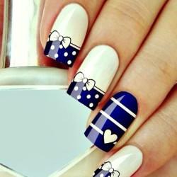Сине желтый дизайн ногти