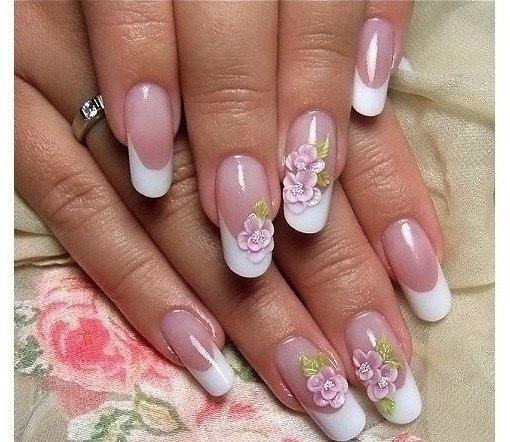 Китайская роспись на ногтях с френчем фото
