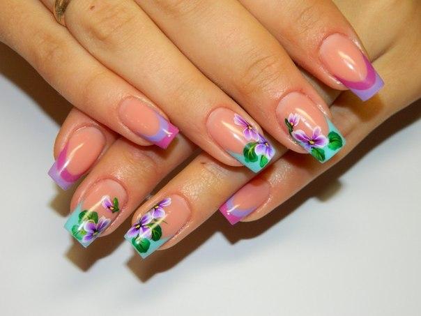 Дизайн ногтей два цвета