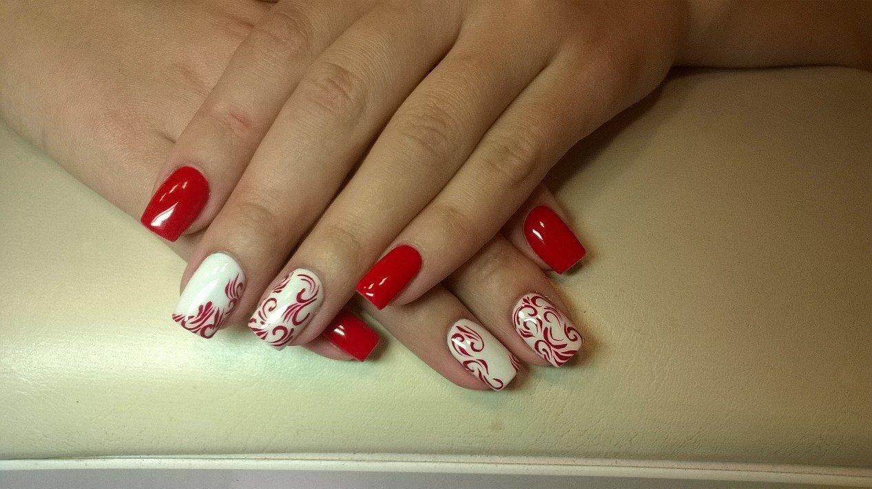 Дизайн ногтей под красное платье