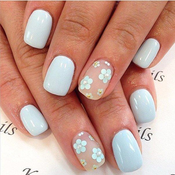 Голубой лак для ногтей дизайн на короткие ногти