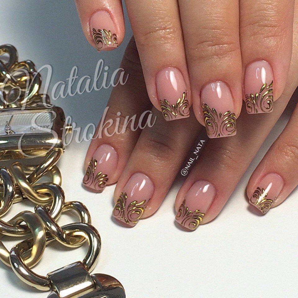Рисунок на ногтях гель лаком с золотом