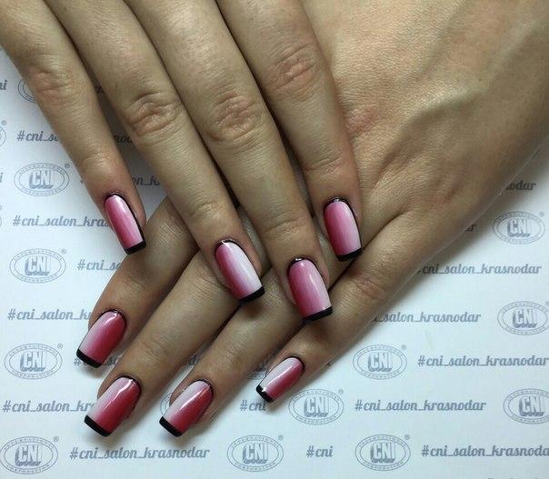 Фото нарощенных ногтей черно белый френч 8