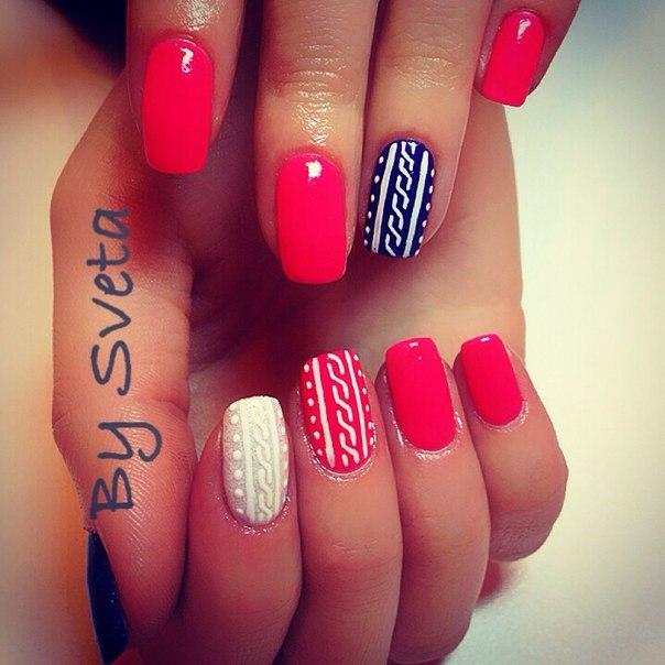 Красный белый черный дизайн ногтей