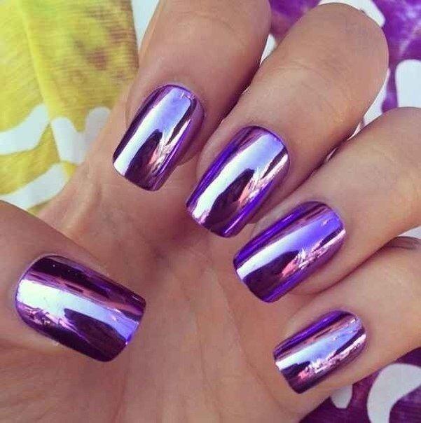 Маникюр фиолетовый сиреневый
