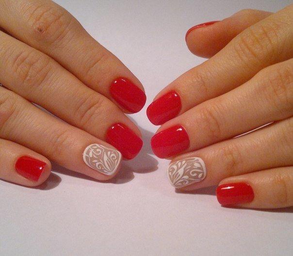 красно белый маникюр на короткие ногти фото