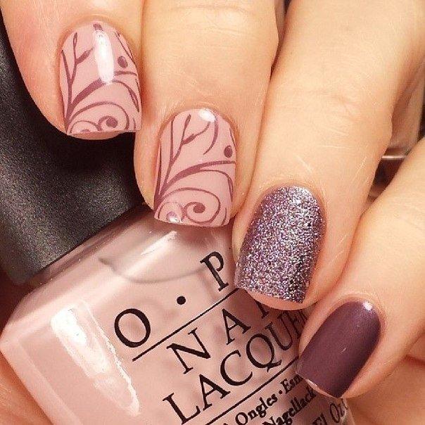 Коричневый и бежевый дизайн ногтей