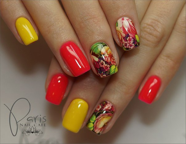 Дизайн ногтей красно желтый