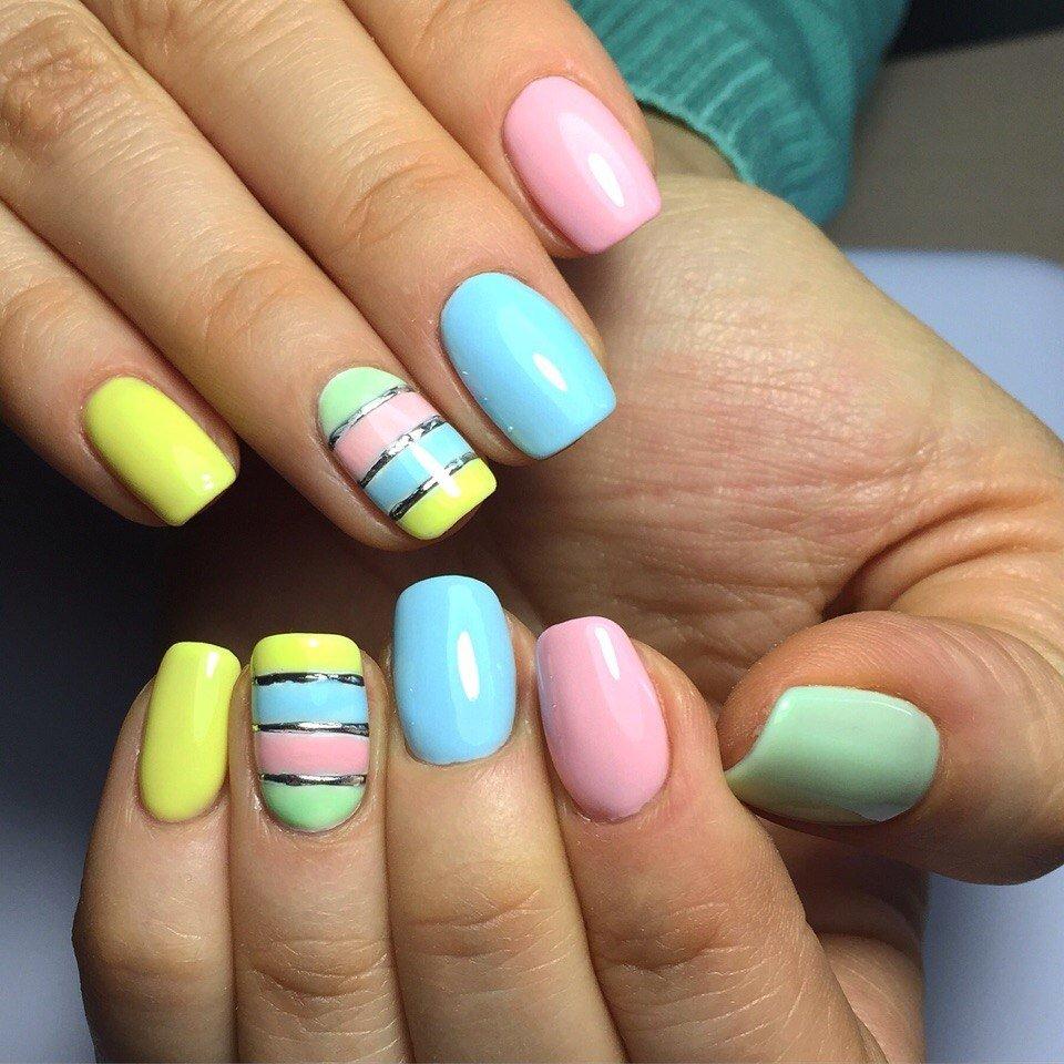 разноцветные ногти шеллак фото