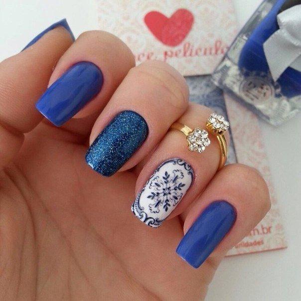 Дизайн ногтей синие новый год
