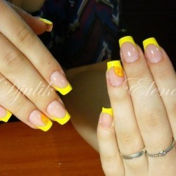 Кислотно-желтый маникюр фото