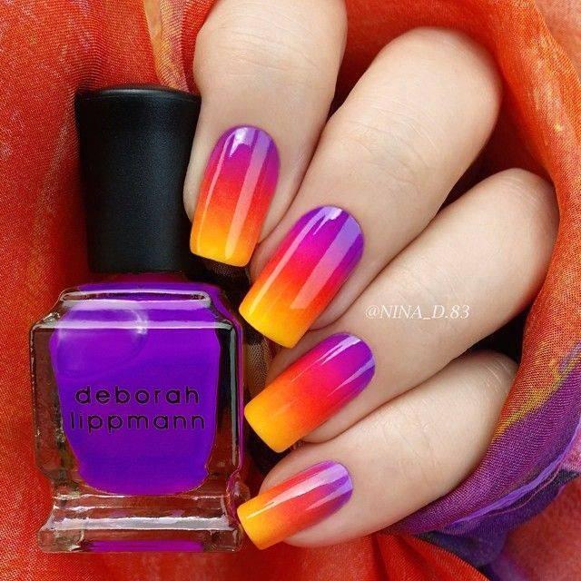 Маникюр градиент оранжевый фиолетовый