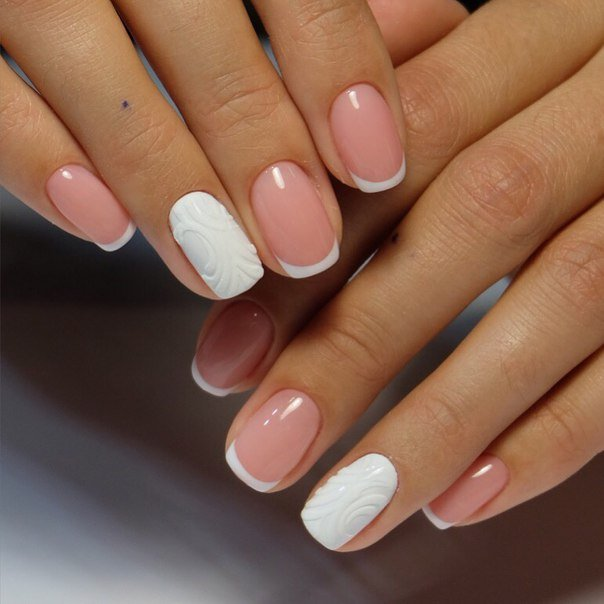 Свадебный маникюр на короткие ногти свадебный гель лаком