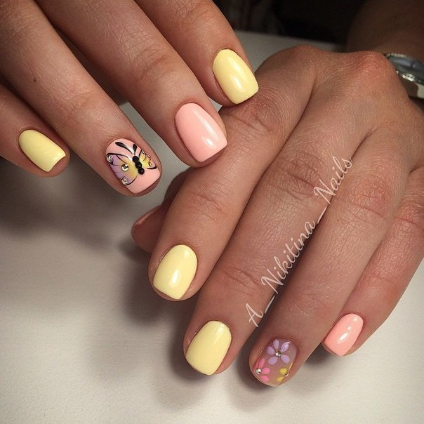 Ногти дизайн с желтым и розовым 22