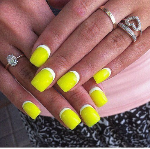 Желтый маникюр дизайн на короткие ногти