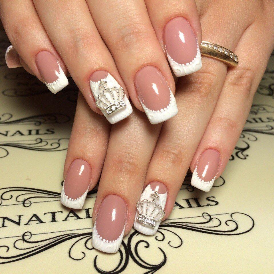 Дизайны ногтей белый френч
