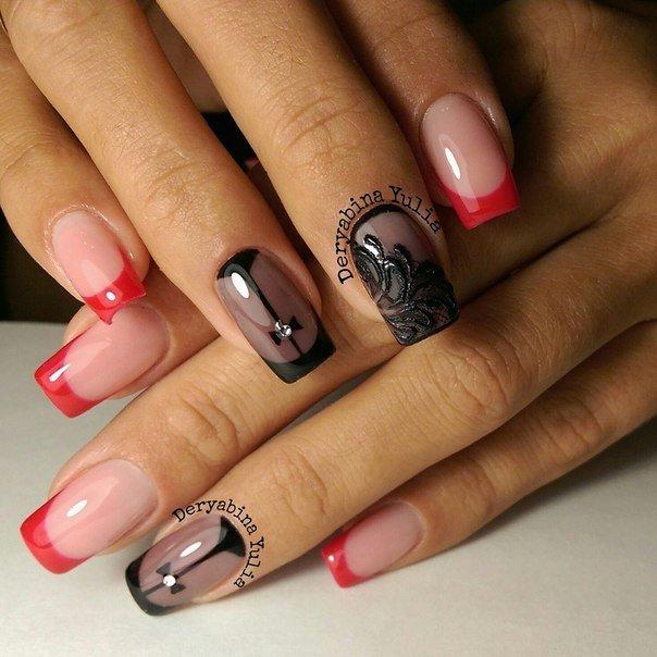 Фото ногтей френч красный с черным