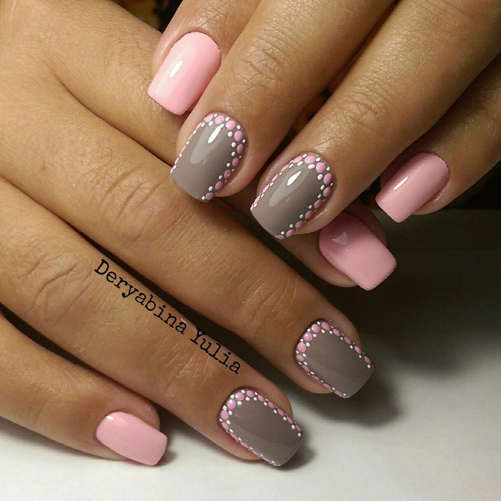 Розовый с серым дизайн ногтей