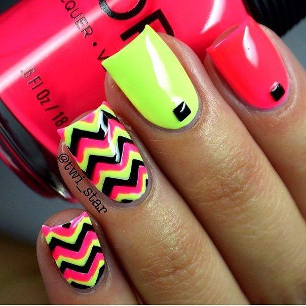 Яркие ногти на лето гель лак