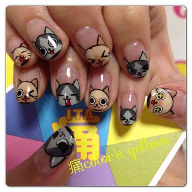 Рисунок кот на ногтях