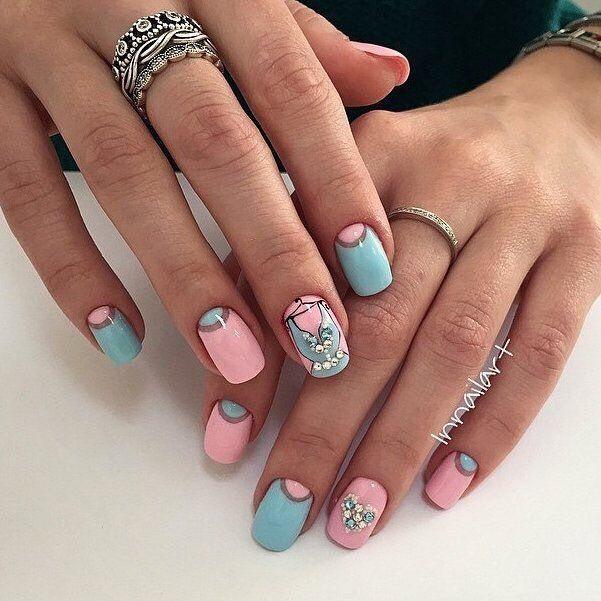 Розово черный дизайн ногтей