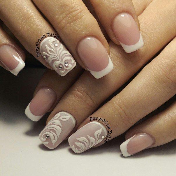 дизайн ногти фото белый френч с рисунком