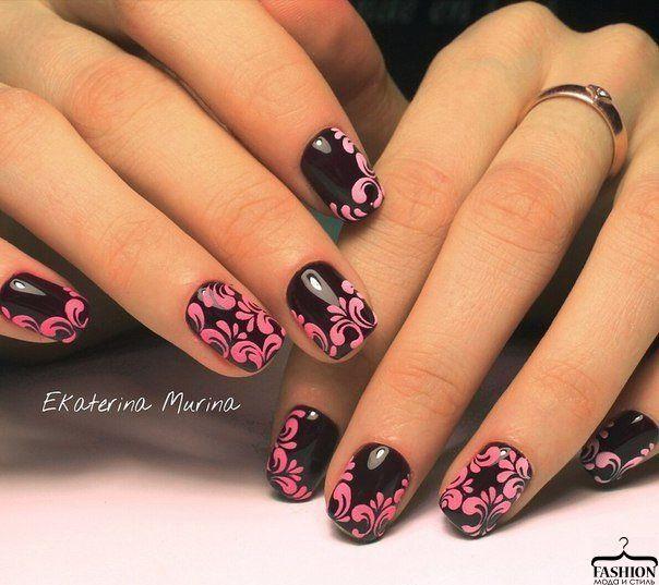 Черно розовый маникюр гель лаком фото дизайн