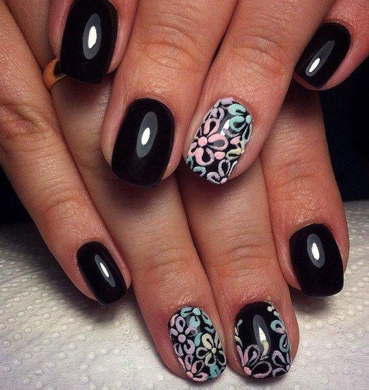 Маникюр темный короткие ногти