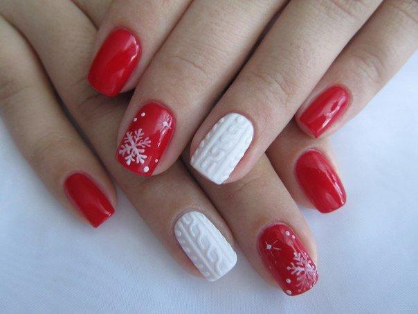 Маникюр на короткие ногти зимний
