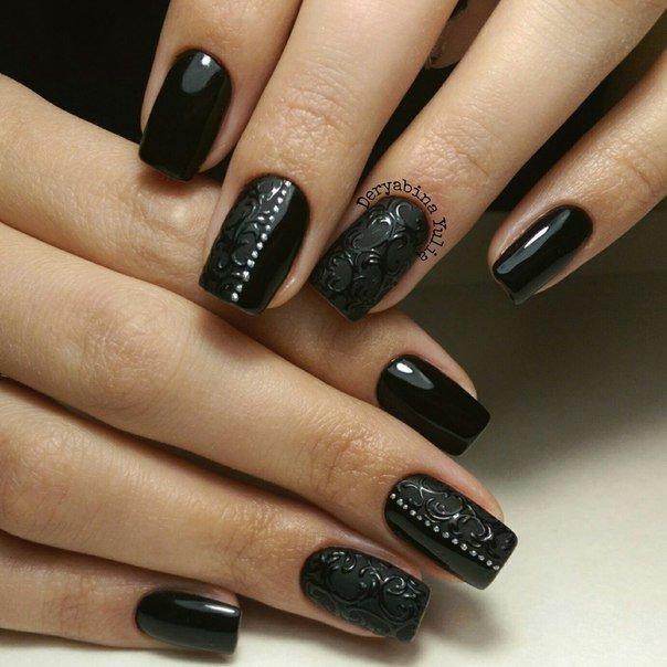Шеллак дизайн фото ногтей темный