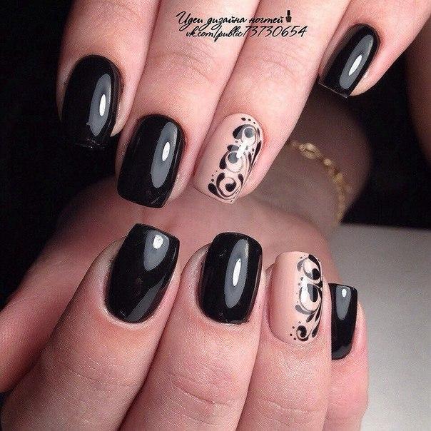 Покрытие черный ШЕЛЛАК на ногтях ФОТО 2014 77