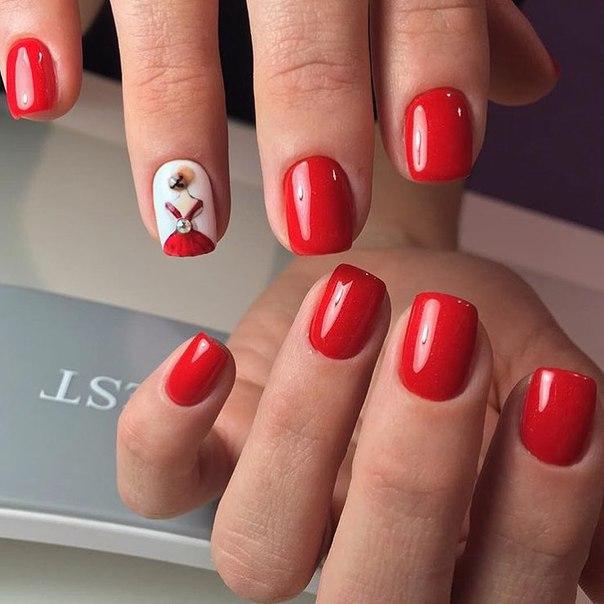 Идеи дизайна ногтей в красном цвете 54