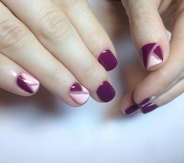 Красивый бордовый маникюр на короткие ногти