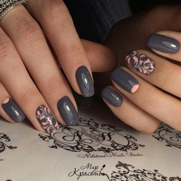 Однотонные рисунки на ногтях