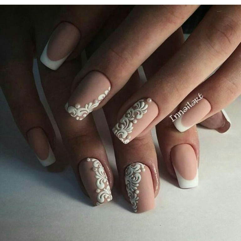 Фото дизайна ногтей свадебного френч