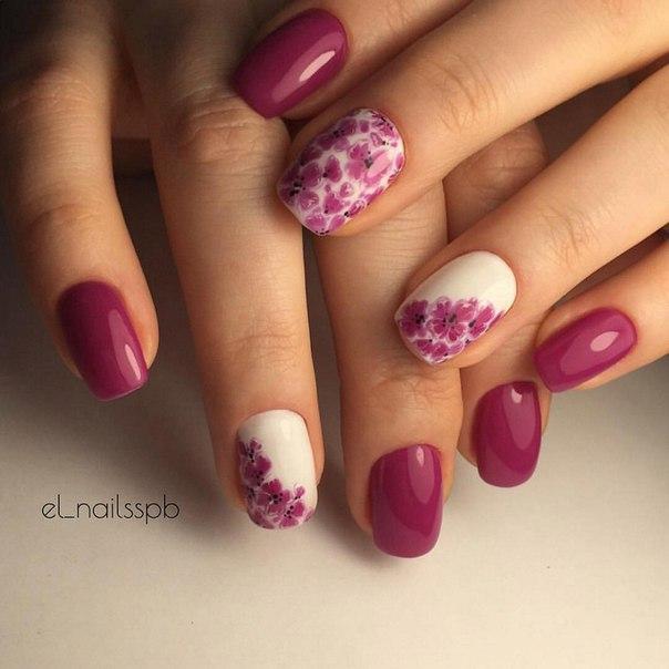 Дизайн ногтей цвет фуксия фото