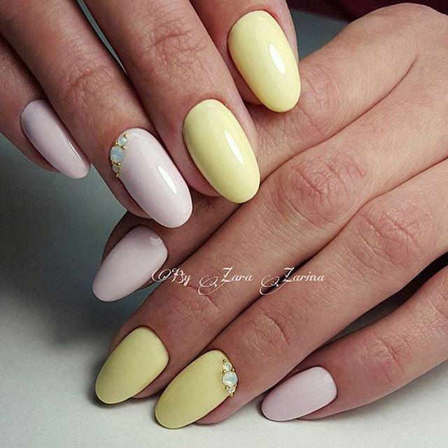Ногти дизайн с желтым и розовым 52