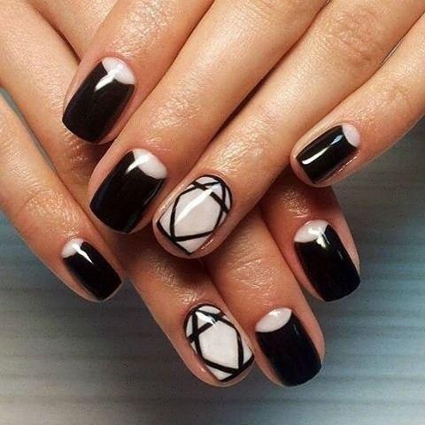 Гель лак дизайн ногтей геометрия