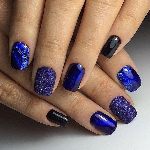 Ногти фото под голубое платье
