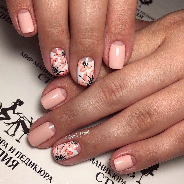 фото персиковый дизайн ногтей