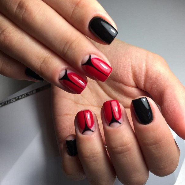 Ногти дизайн фото красно-черные