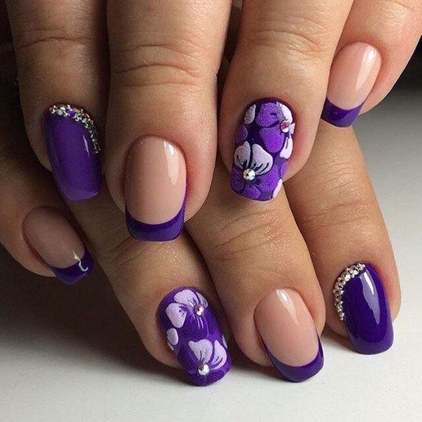 фиолетовый френч с рисунком фото