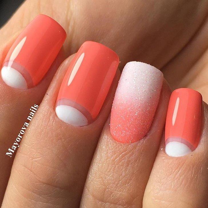 Дизайн ногтей с коралловым цветом
