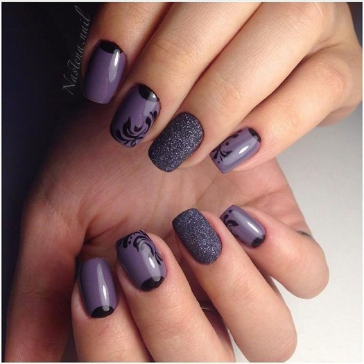 Гель лак серый на ногтях
