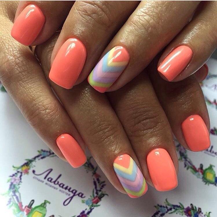 Оранжевый цвет дизайн ногтей фото