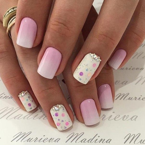 Дизайн ногти бело розовый