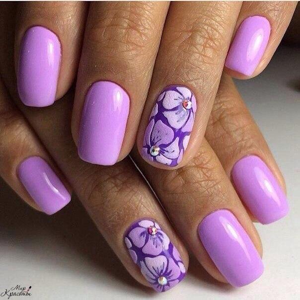 Маникюр лилового цвета фото