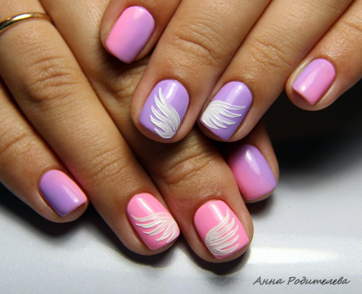 Дизайн ногтей с крыльями ангела