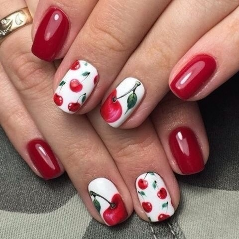 Вишенки дизайн ногтей фото