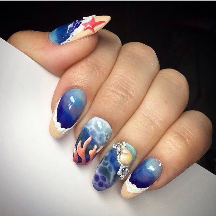 Морская тематика фото ногтей